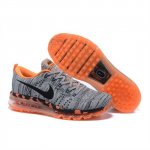 Womens Nike Flyknit Max Premium Shoes Gray Black Orange