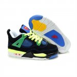 Children Air Jordan 4 Retro Black Green Blue Yellow