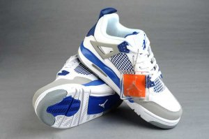 Air Jordan Retro 4 Women white blue Shoes