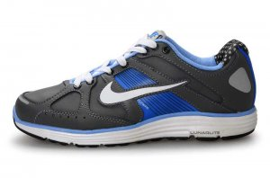 Nike Lunar Elite Leather Grey Blue Mens Running Shoes