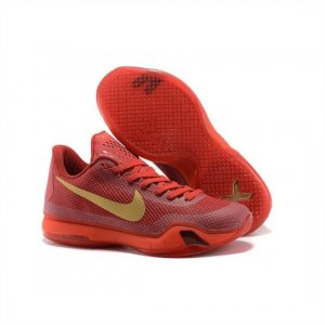 Mens Nike Kobe 10 Red Gold