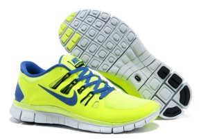 Nike Free 5.0 2V Fluorescent Green Sapphire Blue Shoes